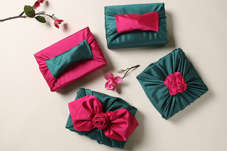 There's no better way to protect a memento than by using the wrapping cloth in sage and rose.