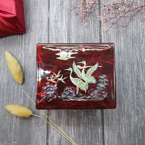 The red mother of pearl korean wedding gift box available on Joteta.