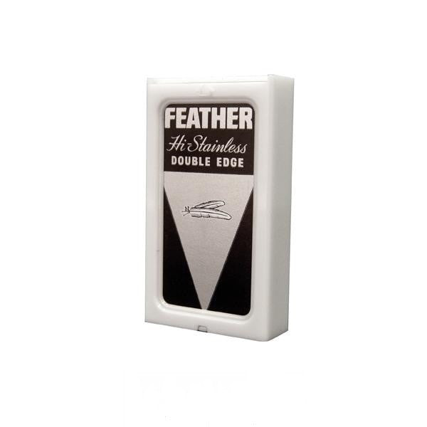 10 Feather New Hi-Stainless DE Blade, 2 packs of 5(Black Packs) - Feather - ItalianBarber.com