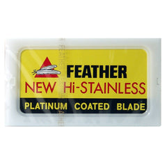 10 Feather New Hi-Stainless DE Blade, 1 Pack of 10 (10 Blades) - Feather - ItalianBarber.com
