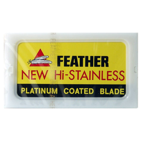 50 Feather New Hi-Stainless DE Blade, 5 Packs of 10 (50 Blades) - Feather - ItalianBarber.com - 2