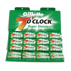 100 Gillette 7 O'Clock Super Stainless Double Edge Blades (Green Pack) - Gillette - ItalianBarber.com