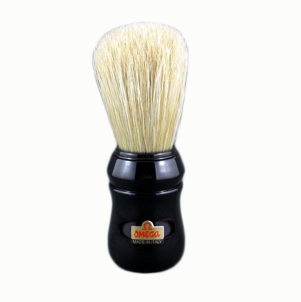 Omega 10049 - 100% Boar Bristle Shaving Brush - BLACK - Omega - ItalianBarber.com
