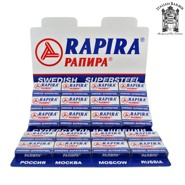100 Rapira Swedish Supersteel Blades, 20 packs of 5 (100 blades)-Rapira Blades-ItalianBarber