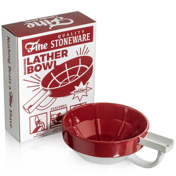 Fine Stoneware Lather Bowl - Red/White-Fine Accoutrements-ItalianBarber