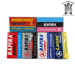 """From Russia with Love"" Double Edge Razor Blade Sampler Pack - Rapira Blades - ItalianBarber.com"