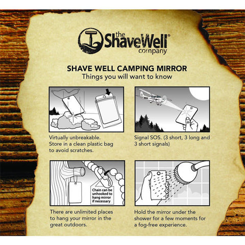 Shave Well Company Unbreakable Fog Free Camping Mirror - Shave Well Mirrors - ItalianBarber.com - 2