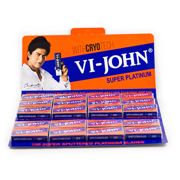 100 Vi-John Super Platinum Coated Stainless DE Blades, 20 packs of 5-Vi John-ItalianBarber