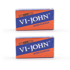 10 Vi-John Super Platinum Coated Stainless DE Blades, 2 packs of 5-Vi John-ItalianBarber