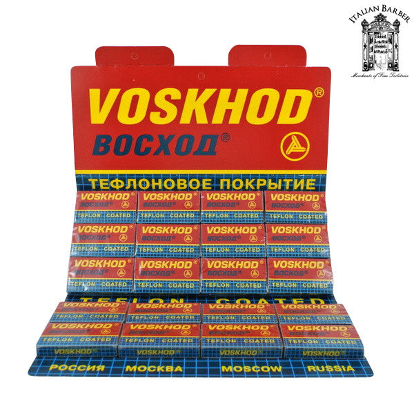100 Voskhod Teflon Coated DE Blades, 20 packs of 5 (100 blades) - Voskhod - ItalianBarber.com