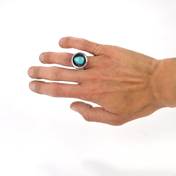 Turquoise and Sterling Shadowbox Ring - 6
