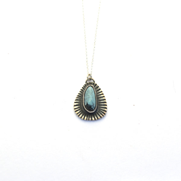Turquoise Sunburst and Sterling Necklace