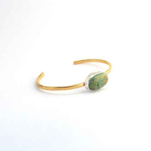 Turquoise and Brass Cuff