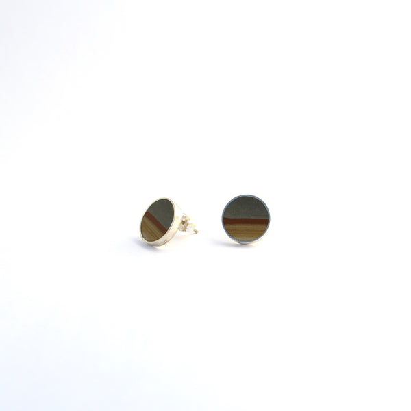 Landscape Jasper and Sterling Stud Earrings