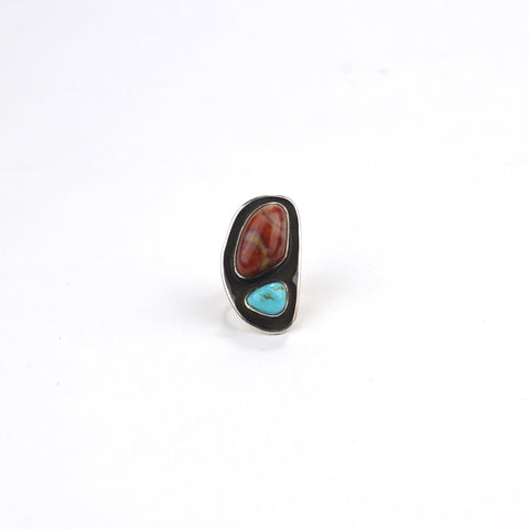 Petrified Wood and Turquoise Ring - 6.5