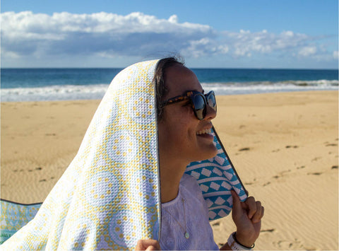 Sand Free towel with girl