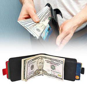 Handmade slim Leather Pull-Out Wallet - BUY 2 SAVE $4.99