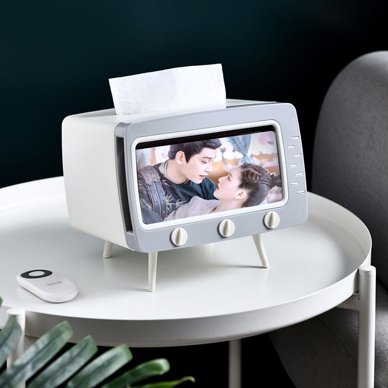 Creative TV Tissue Box  with Mobile Phone Holder(BUY MORE SAVE MORE)