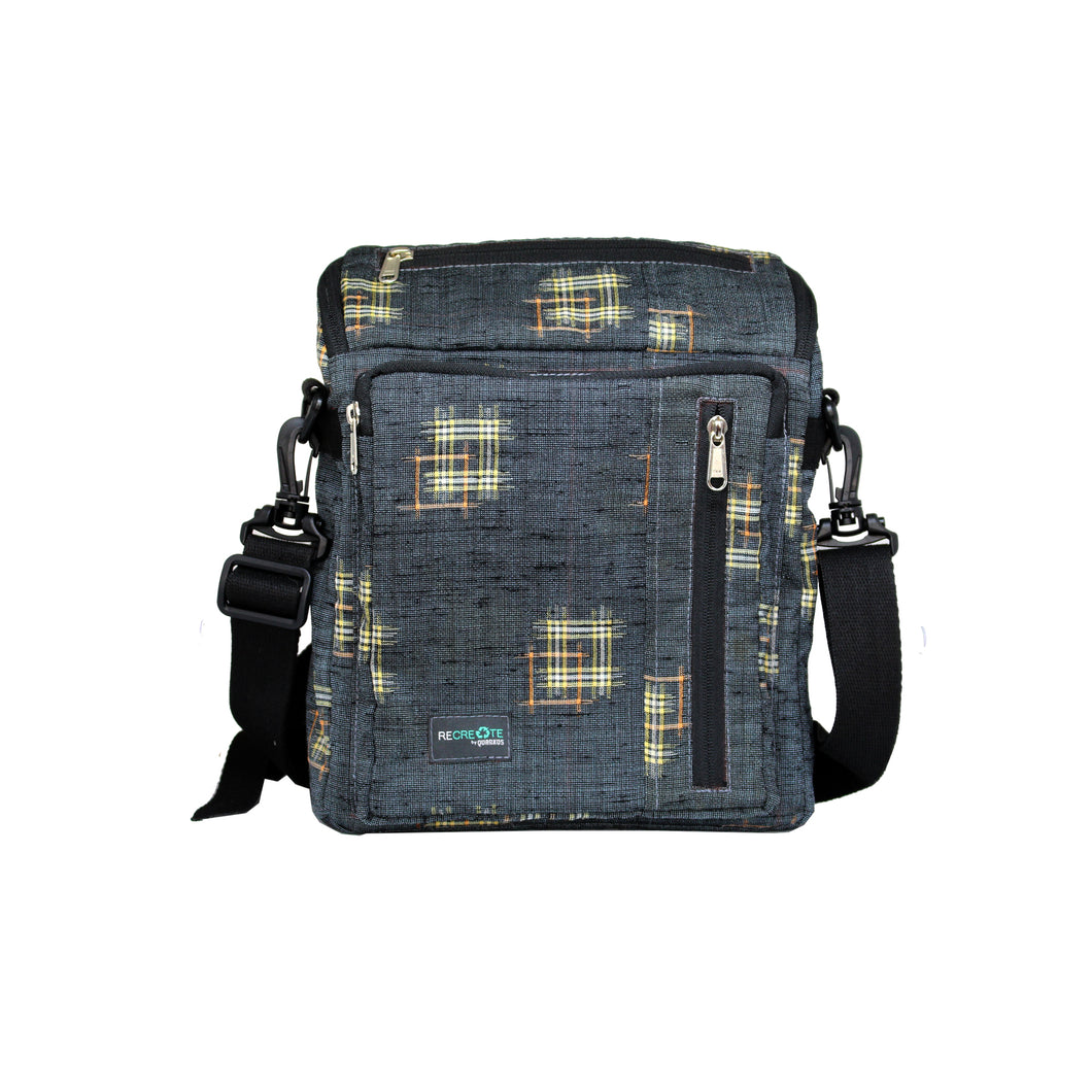 ReCreate Convertible Bag (Kimono Collection) - Gray & Yellow Pattern
