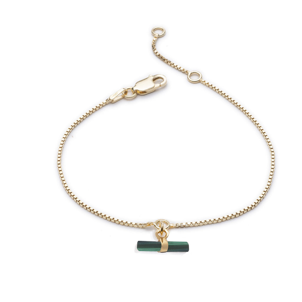 Rachel Jackson Mini Malachite Gold Plated T Bar Bracelet
