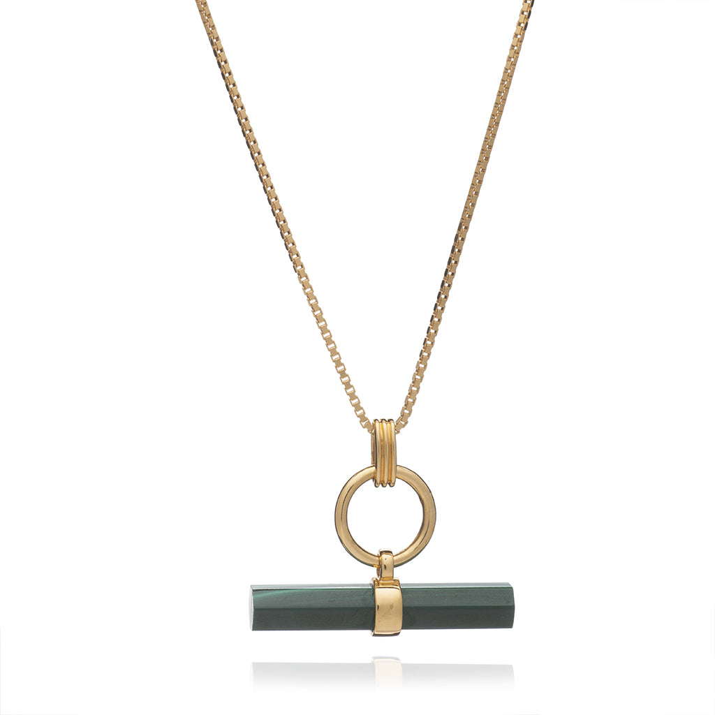 Rachel Jackson Protection T Bar Necklace Malachite Gold Plated