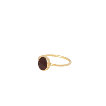 Mimi et Toi Oval Resin Gold Plated Stacking Ring Bordeaux