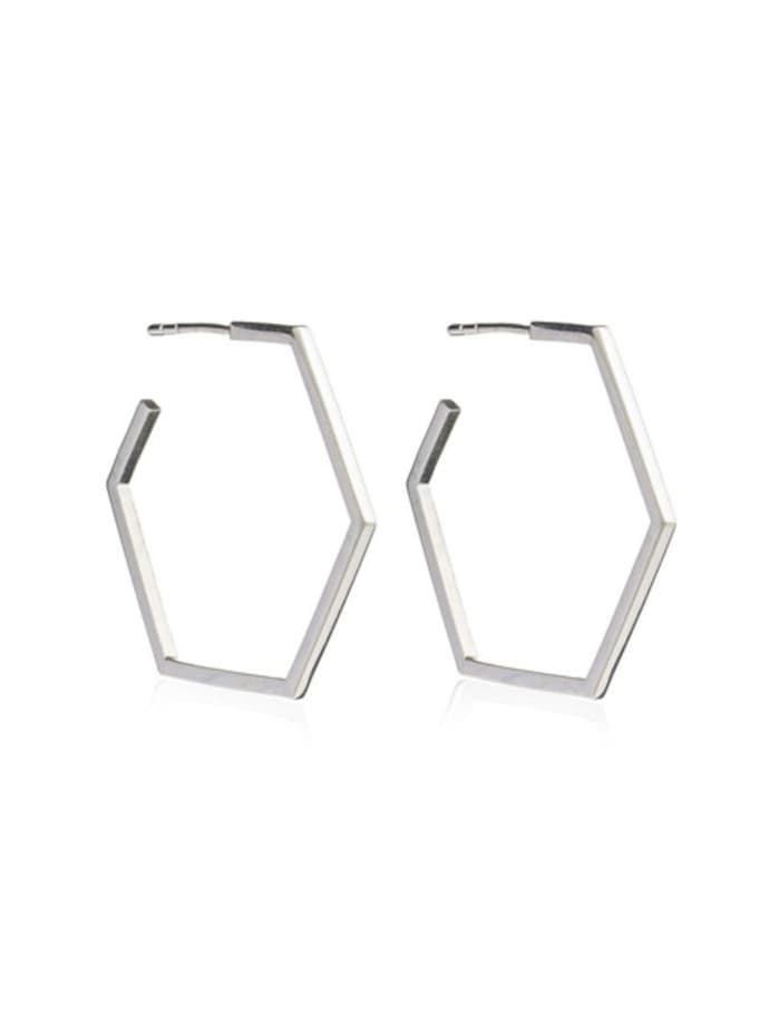 Rachel Jackson Serenity Hexagon Hoop Earrings Sterling Silver