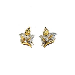 Vintage Leaf Motif Diamante Clip Earrings