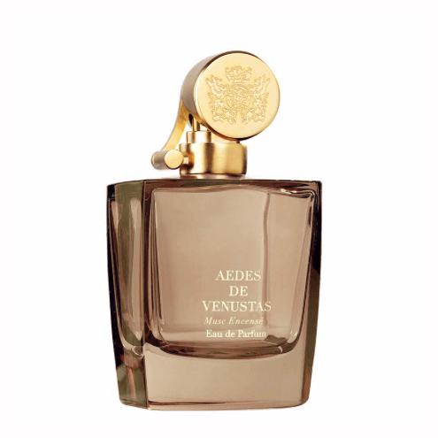 Brown clear bottle with gold top. Aedes de Venustas Musc Encense Eau de Parfum 100mL