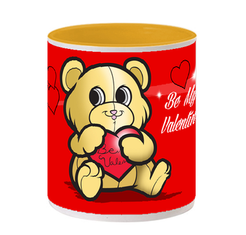 Valentines Day Inside Yellow Color Mug