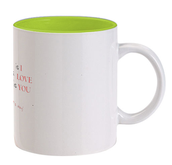 Happy Valetine Day Inside Light Green color mug