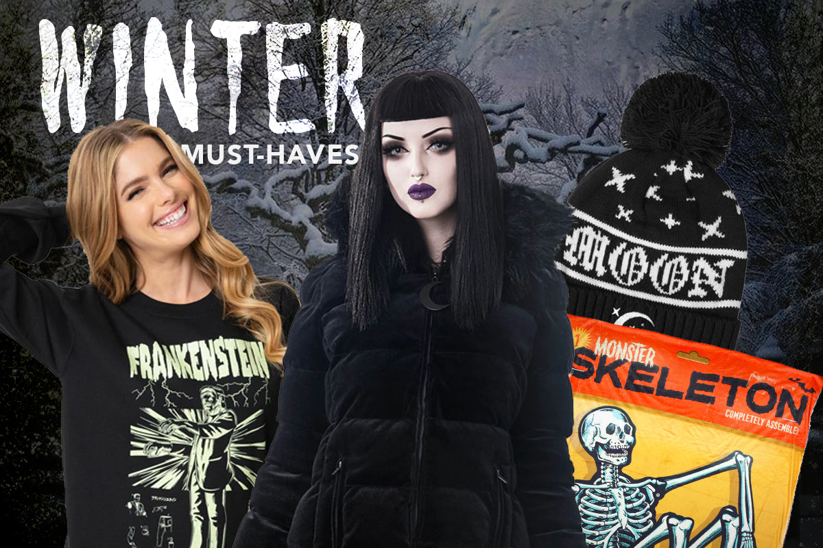 winter weather goth and horror movie clothing, blankets, apparel and more