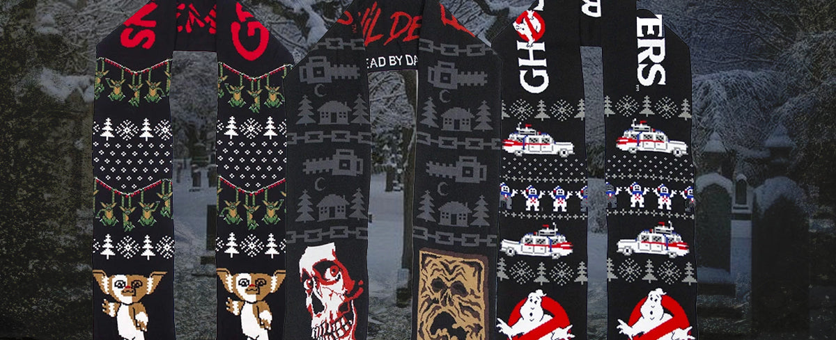 horror movie themed scarves gremlins, ghostbusters, necronomicon