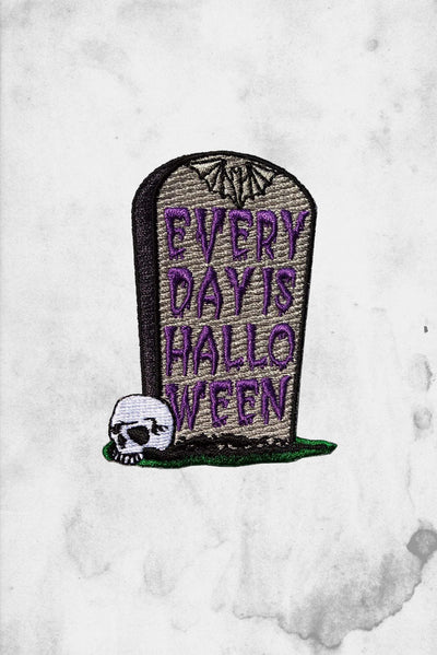 every day is halloween tombstone skull shaped patch