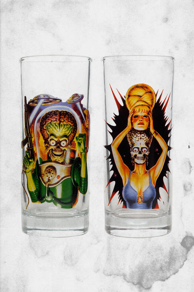 mars attacks drinking glass set