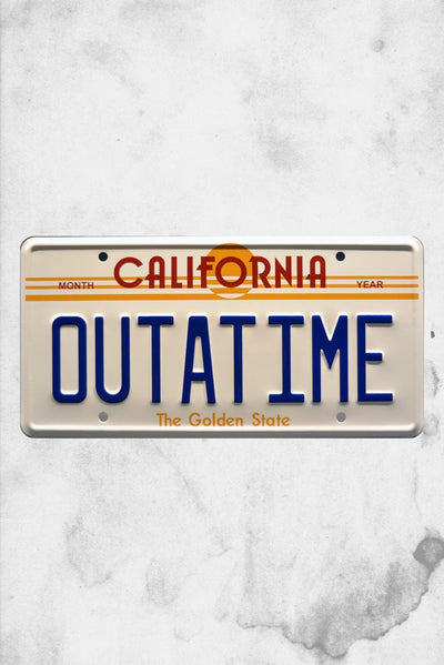 back to the future license plate design out at time