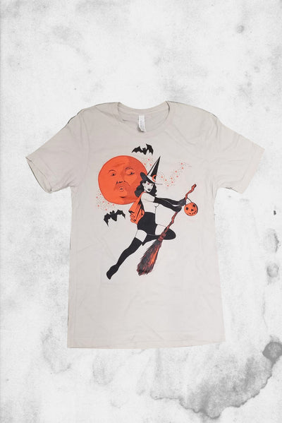 Bad Witch pin-up style vintage halloween t-shirt halloween shirt company design