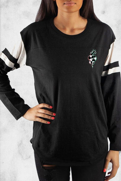 beetlejuice womans football style shirt sandworm