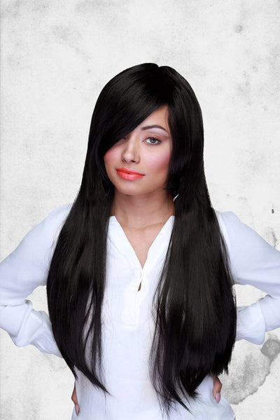 straight black cosplay wig