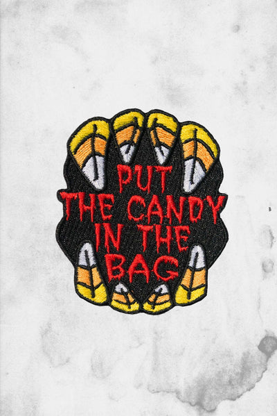 halloween candy themed iron on patch