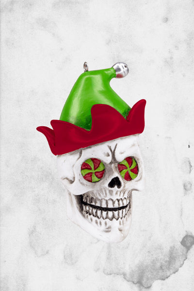 christmas skull elf ornament
