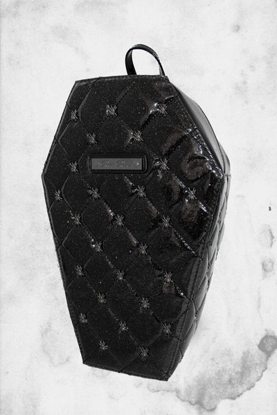 black coffin backpack with spiders rock rebel