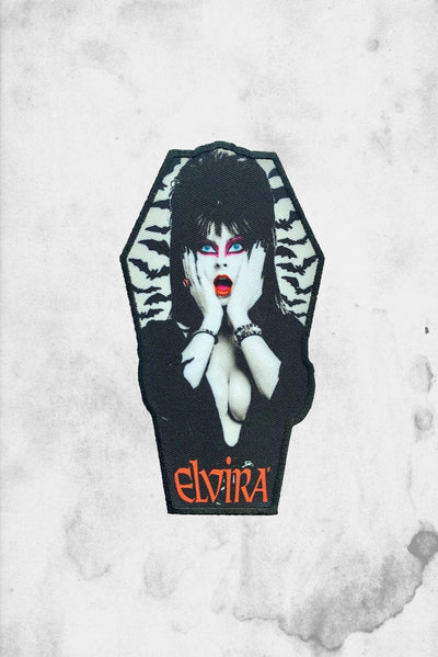 elvira coffin shaped iron on patch