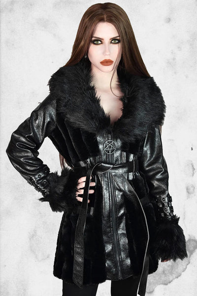 faux leather and fur goth female jacket winter