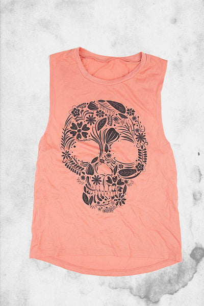spooky skull floral tank top