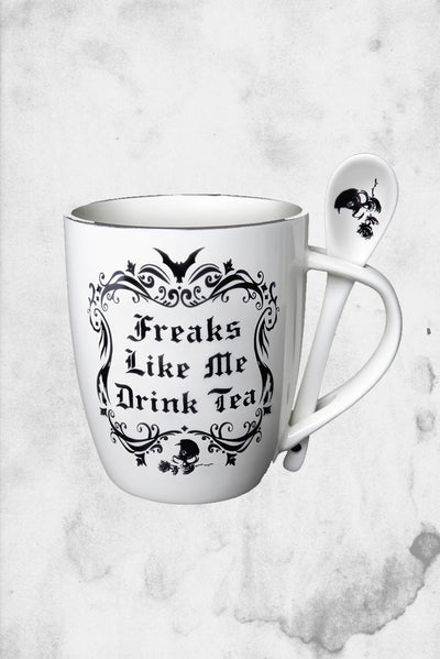 cup and spoon set horror freaks tea
