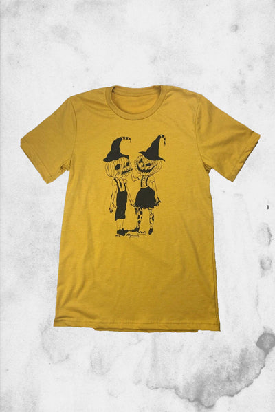halloween pumpkin cute t-shirt couple pair