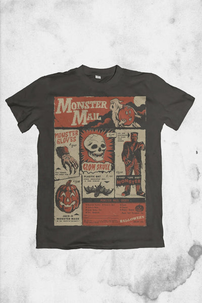 vintage halloween themed t-shirt monster mail
