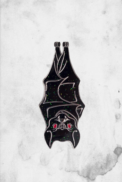 hanging bat enamel pin