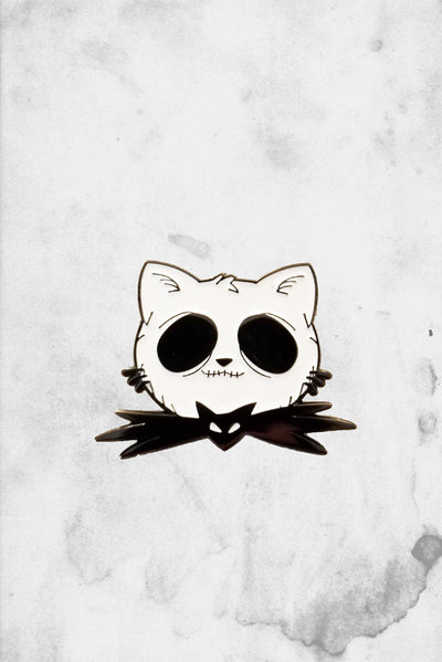 jack skeleton cat enamel pin fantasy